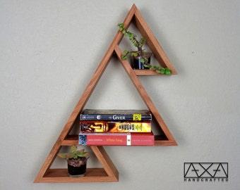 SINGLE Solid wood Three Mountains Triangle Display Shelf