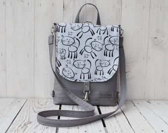 Gray Mini Backpack, Waterproof Shoulder Bag, Cat Hipster Festival Rucksack, Unique Gift for College Students, Christmas Gift for Girl