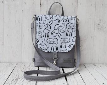 Gray Mini Backpack, Waterproof Shoulder Bag, Cat Hipster Festival Rucksack, Unique Gift for College Students, Christmas Gift for Girl