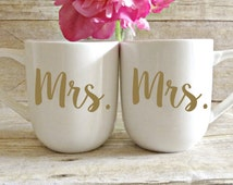 Mrs and Mrs Coffee Mugs, Hers and Hers Mugs, Engagement Gift Engagement gift for couple, His and Hers, Bride and Groom, Hubby and wifey