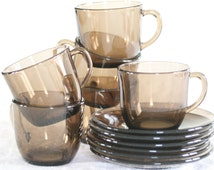Vintage, French bistro coffee cup set from Vereco