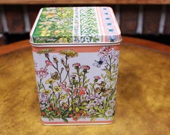 Floral Rectangle Tins. New Vintage 1980s