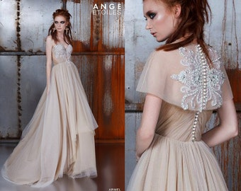 Wedding dress ARMEL, champagne dress, couture wedding dress, ball gown wedding dress