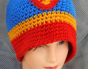 Sale! 10 dollars Superman Inspired Crochet Hat (ask for other sizes)