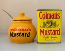 Colman's mustard . Set of unopened mustard powder tin with a stoneware mustard jar to prepare it in .