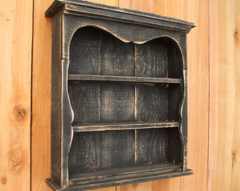 Shabby Chic Style Black Wall Shelf, Distressed, Book Shelf, Distressed, French Country, Shadow Box, Display Case, CEDAR, HANDMADE