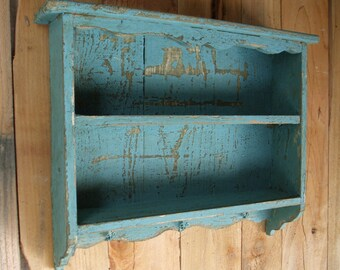 Tall Turquoise Blue vintage shabby chic distressed handmade wall shelf old looking, Distressed wall shelf, with hooks, CEDAR