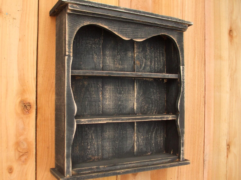 Shabby Chic Style Black Wall Shelf Distressed Book Shelf