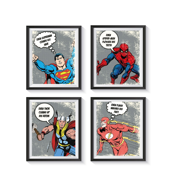 Retro Superhero Art: Bathroom Retro Superhero Distressed Vintage Art Print Set