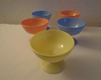 Vintage Colorful Glass Dessert Cups - 5