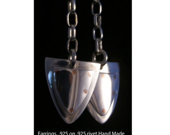 Sterling silver medieval shield earrings