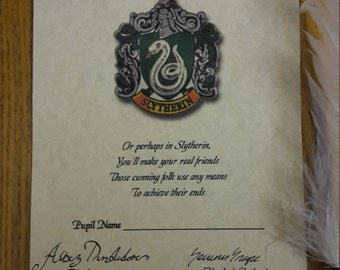 Harry Potter House SLYTHERIN sorting hat certificate