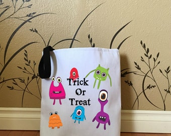 Halloween Trick or Treat Bag with Monsters, Kids Tote Bags, Cute Halloween Bags, Halloween Decorations