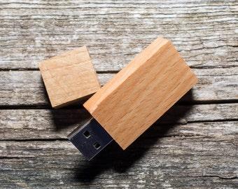 Set of 10 BEECH wood USB flash drive memory sticks 8GB/16GB/32GB/64GB