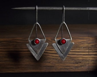 Red coral earrings Oxidized Sterling silver earrings Handmade