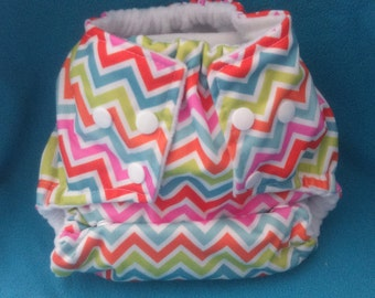 AIO diaper O/S PUL Chevrons neon with bamboo inserts