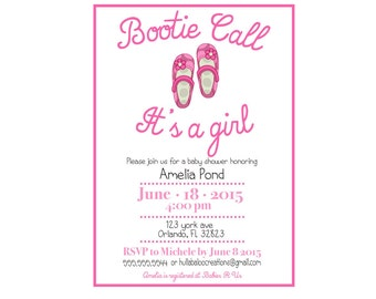 Bootie Call It's a Girl DIY Printable Baby Shower Invitation