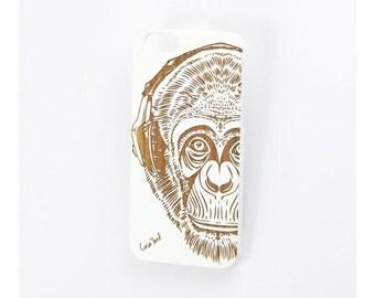 iPhone 7 case, iPhone 6s case iPhone 6 case iPhone 7 plus case iPhone 6s plus case iPhone 6 plus case White Headphone Monkey