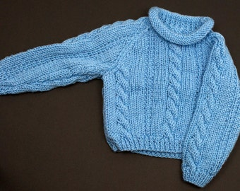 Childs Roll Neck Sweater - Light Blue