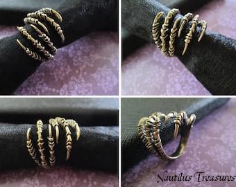 Brass Raven Claw Talon Ring, Adjustable ring, Double Raven Claw Wrap Ring, Claw Ring, Brass Bird Claw, Steampunk ring,