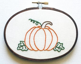 Pumpkin Embroidery Hoop Art - Fall Decor - Halloween Decoration  - Hoop Embroidery Wall Hanging
