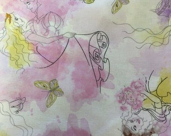 Disney water color - 2 yards  total - Clearance - fabric - material - fabric - sewing -supply notion -