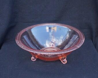 elegant rosalin, pressed glass bowl (Pressglas) art deco, vintage depression glass