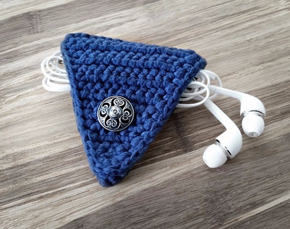Royal Blue Crochet Cord Holder, Headphone Organizer, Earbud Organizer, Smartphone Accessory, Earphone Cord keeper, Headphone USB Winder