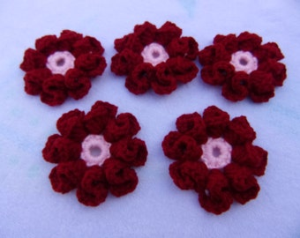 burgundy and pink 3d flower embellishment set of 5, flower appliques, sensory blankets, hand crochet flowers, yarn flower, scrap yarn flower