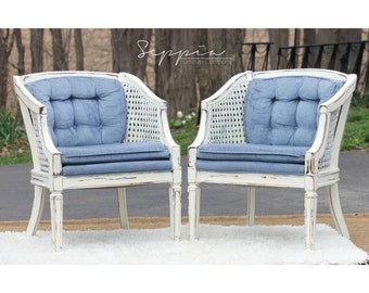 Cane Barrel Chair Set of 2