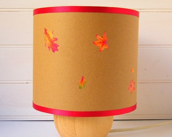 Paper cut autumn leaves drum table lampshade 20cm with red trim