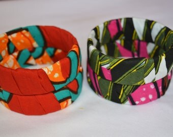Small sized African Print Bangles- Please see description for sizing details