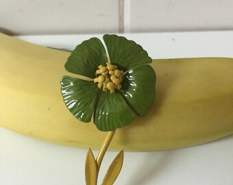 Flower Brooch Green Vintage Retro Mod Hippie Jewelry