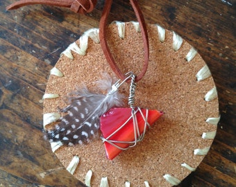 Feather and Glass Necklace
