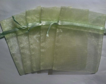 "30 Pale Pastel Celery Green Organza Bags 4"" by 3"" Sachet Satin Ribbon Drawstring Bags Gift Party Favors Shower Wedding"