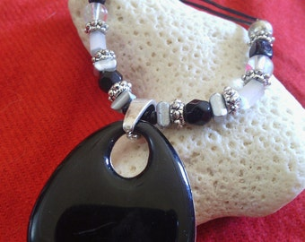 Black Beaded Pendant Cord Necklace