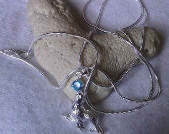 Aquamarine March Birthstone Seal Sterling Silver Pendant