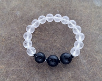 Unisex Om Mani Padme Hum 10 & 12MM Frosted Natural Obsidian And Quartz Amulet Bracelet with Hematite Rondelles