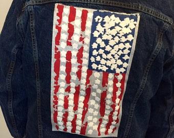 Abstract  American Flag Denim Jacket