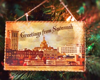 Christmas Postcard Ornament of Savannah Georgia