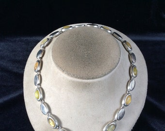 Vintage Silvertone & Shades Of Yellow Stone Necklace