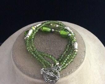 Vintage Green Glass Beaded Toggle Style Bracelet