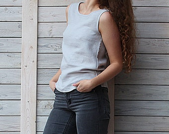 Linen summer blouse / flax top for woman. Silver Grey. Handmade by LinenSky.
