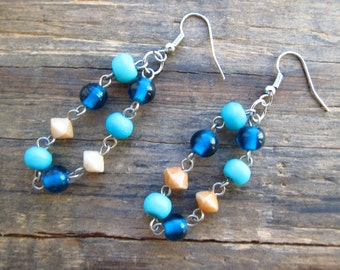 Turquoise Bead Dangle Earrings made from Recycled Jewelry One of a Kind