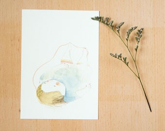 "Postcard ""i am never lazy"" - 《dodolulu》 - illustration - affordable art - watercolor drawing - quality postcard print"