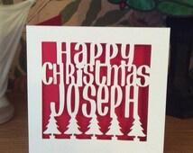 Papercut - Personalised Happy Christmas Card