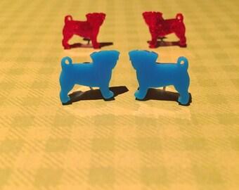 Pug Acrylic Earrings - Pug Earrings - Dog Earrings - Animal Earrings