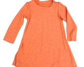 Girls A-Line Dress Organic Cotton & Bamboo in Burnt Orange