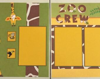 """12 x 12 Premade Zoo Scrapbook Layout, """"Zoo Crew"""", Zoo Layout, 2 Page Zoo Layout, Zoo Scrapbooking Page, Giraffes, Monkeys, Elephants, Lions"""