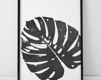 Black and White (Chalkboard) Monstera Leaf INSTANT DOWNLOAD Art, Printable Art, Tropical Leaf, Monstera Leaf, Art Print, Botanical Leaf